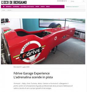 Eco di Bergamo - Fdrive - Simulatori di Guida Professionali